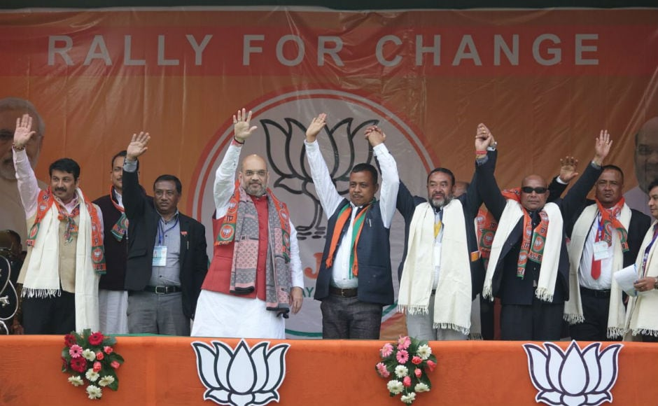 The BJP is contesting in 47 of the 60 seats in the 27 February Assembly elections in Meghalaya. Results will be announced on 3 March. Firstpost/Rishiraj Bhagawati