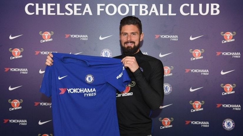 Olivier Giroud, 31, joined Chelsea in an £18m deal on the closing day of the winter transfer window. Image courtesy: Twitter/@Chelsea