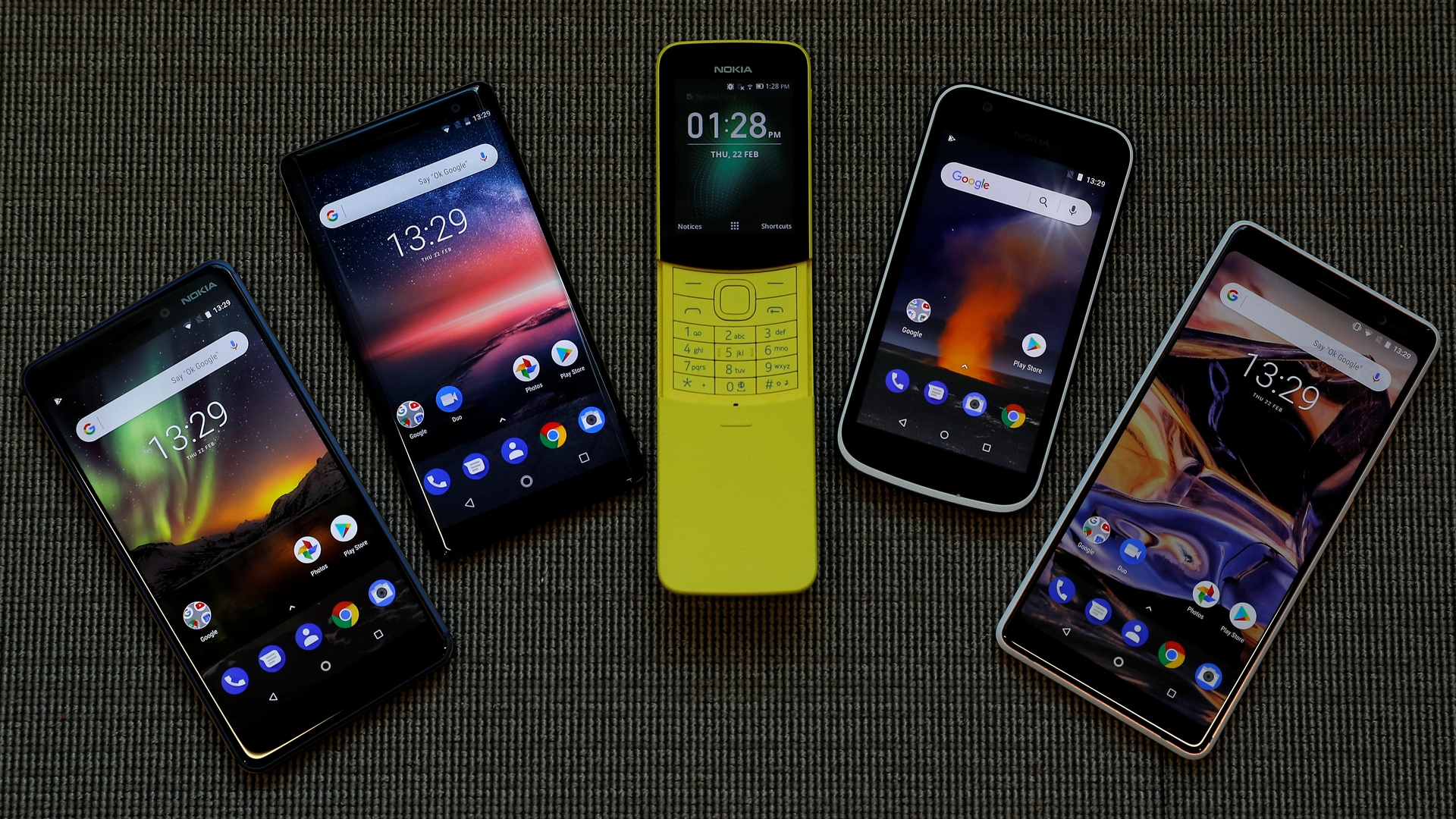 The New Nokia 6, Nokia 8 Sirocco, Nokia 8110, Nokia 1 and the Nokia 7 Plus are seen at a pre-launch event in London, Britain February 22, 2018. Picture taken February 22, 2018. REUTERS/Peter Nicholls - RC160CD74C00