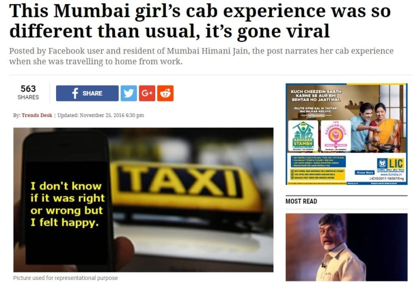 Positive cab story. Image credit: The Indian Express