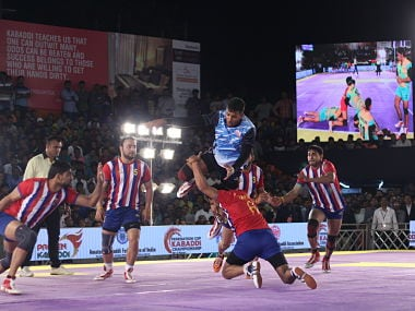 Maharashtra qualities of a champion side as they beat a formidable Haryana side and top Group A of the Federation Cup Kabaddi tournament. Image Courtesy: Mumbai Upnagar Kabaddi Association