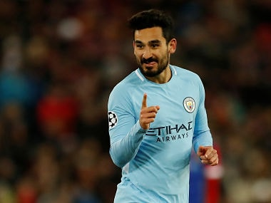 Manchester City's Ilkay Gundogan celebrates scoring their fourth goal against Basel. Reuters