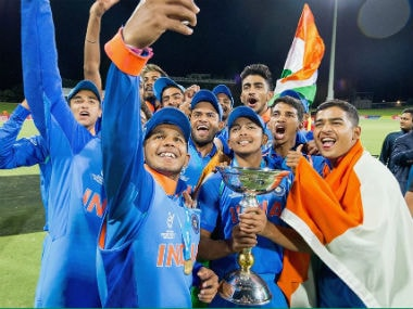 The victorious Indian team poses with the winner's trophy. Image credit: Official Facebook page of ICC