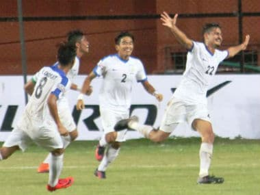 The Indian Arrows celebrate a goal in their clash against Churchill Brothers. Image credit: Twitter/@ILeagueOfficial