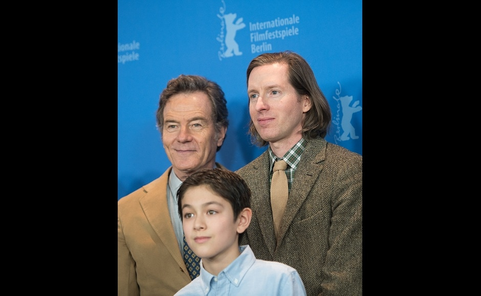 Bryan Cranston, Koyu Rankin and Isle of Dogs director Wes Anderson at 68th Berlin International Film Festival. AFP/Stefanie Loos
