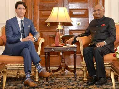 Canadian prime minister Justin Trudeau meets President Ram Nath Kovind at Rashtrapati Bhavan. Twitter@rashtrapatibhvn