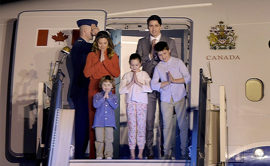 Trudeau arrived with his wife Sophie Gregoire Trudeau and three children in New Delhi. The family gestured 'namaste' before getting off the plane. During the course of his stay in India, Trudeau will also visit Agra, Ahmedabad, Mumbai and Amritsar. PTI