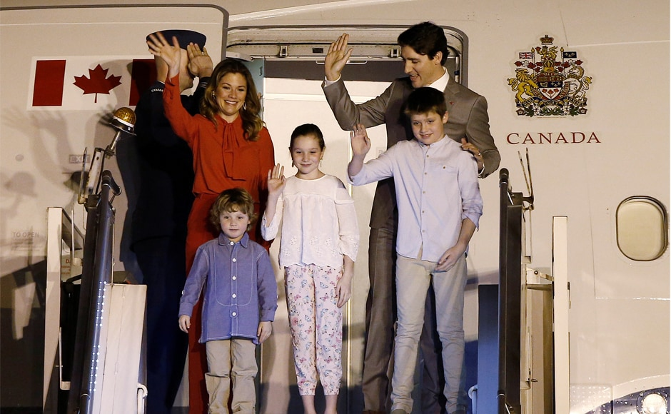 Trudeau and his family wave upon their arrival at AFS Palam, New Delhi. Cooperation in security and counter-terrorism as well as exchange of views on global and regional issues of mutual interest will also form important components of the visit. Reuters