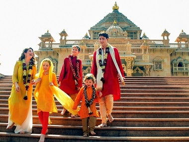 Justin Trudeau with his family members at the Akshardham Temple in Gandhinagar. PTI