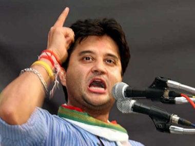 Guna Lok Sabha member and Congress leader Jyotiraditya Scindia addressing public rally at Kolaras. Firstpost/Debobrat Ghose