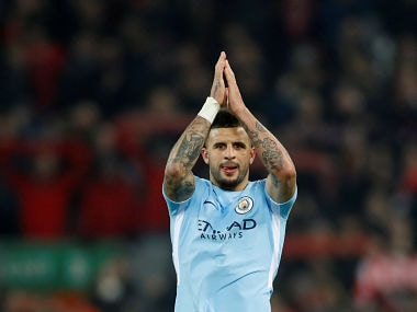 "Soccer Football - Premier League - Liverpool vs Manchester City - Anfield, Liverpool, Britain - January 14, 2018 Manchester City's Kyle Walker applauds the fans after the match Action Images via Reuters/Carl Recine EDITORIAL USE ONLY. No use with unauthorized audio, video, data, fixture lists, club/league logos or ""live"" services. Online in-match use limited to 75 images, no video emulation. No use in betting, games or single club/league/player publications. Please contact your account representative for further details. - RC13F13F2C00"