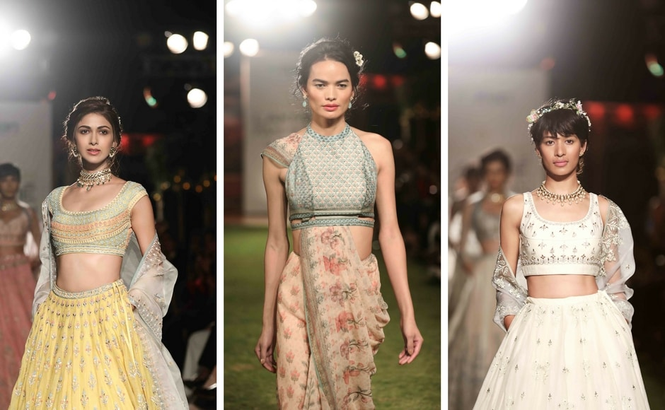 Printed bandis and kurtas, layered with trousers were also presented as part of the menswear look. The ensembles were complimented by stunning pieces from Anita Dongre Fine Jewellery, embroidered flat shoes and pretty floral tiaras.