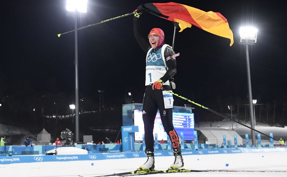 Laura Dahlmeier of Germany celebrates after her finish in the 10km Pursuit final. Laura Dahlmeier beat the opposition and freezing conditions to claim her second gold medal of the Winter Olympics in the biathlon pursuit. Reuters