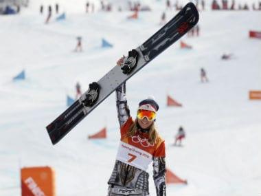 Gold medallist Ester Ledecka of Czech Republic. Reuters