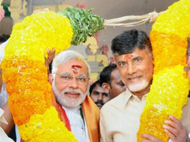 File image of Prime Minister Narendra Modi with Chief Minister Chandrababu Naidu. PTI