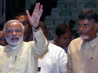 File image of Narendra Modi and Chandrababu Naidu. PTI