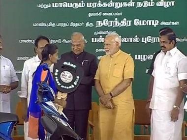 Prime Minister Narendra Modi inaugrates scooter scheme. Twitter @BJP4India