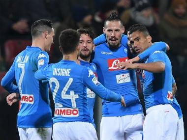 Napoli's Marek Hamsik celebrates scoring their third goal with teammates. Reuters