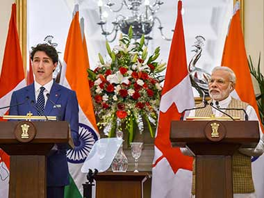Prime Minister Narendra Modi and his Canadian counterpart Justin Trudeau at a joint press conference at Hyderabad House in New Delhi. PTI