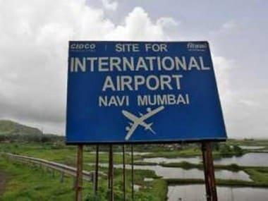 Navi Mumbai Airport site signboard. Reuters.