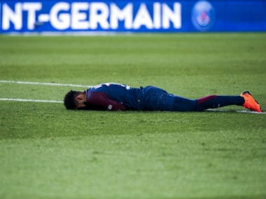 Paris Saint-Germain's Brazilian forward Neymar reacts after fracturing his right ankle. AFP