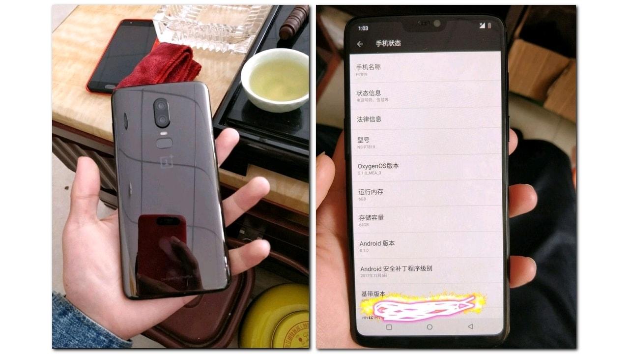 OnePlus 6 leaked image . Weibo
