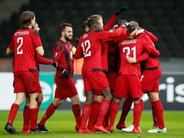 Ostersunds FK's players celebrate. Reuters