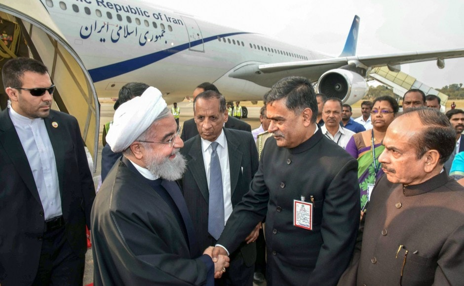 Union Minister Hansraj Gangaram Ahir received Rouhani at Begumpet Airport. Telangana Governor ESL Narasimhan, Deputy Chief Minister Mohammed Mahmood Ali and other officials also welcomed him. PTI
