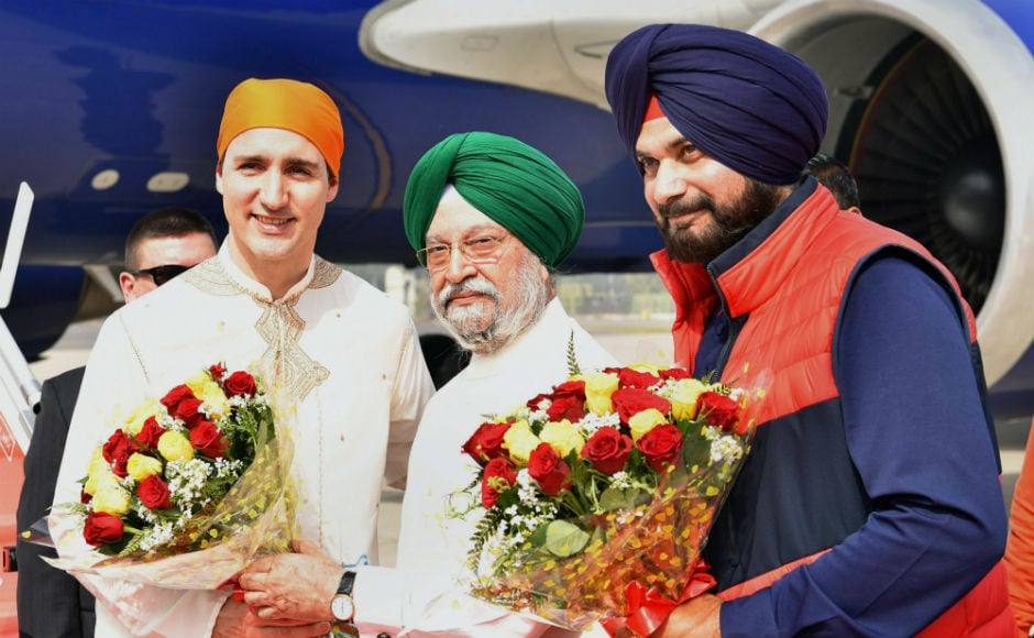Union minister of state Hardeep Singh Puri and Punjab cultural affairs and tourism minister Navjot Singh Sidhu received Trudeau, his family and a delegation of Canadian ministers and MPs at the Sri Guru Ramdas International Airport. PTI