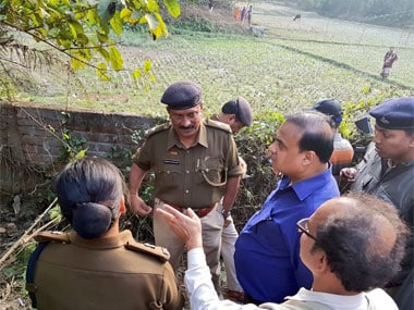 BJP election in-charge for Tripura Himanta Biswa Sarma at the scene Madhusudan Deb was allegedly killed. Image courtest @himantabiswa