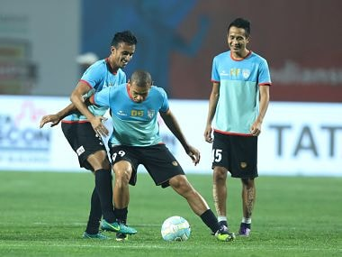 Players during match 69 of the Hero Indian Super League between Jamshedpur FC and NorthEast United FC held at the JRD Tata Sports Complex, Jamshedpur, India on the 10th February 2018 Photo by: Arjun Singh / ISL / SPORTZPICS