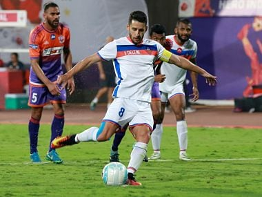 Ferran Corominas Telechea of FC Goa takes a penalty shot to score a goal during match 82 of the Hero Indian Super League between FC Pune City and FC Goa held at the Shree Shiv Chhatrapati Sports Complex Stadium, Pune, India on the 25th Feb 2018 Photo by: Faheem Hussain / ISL / SPORTZPICS
