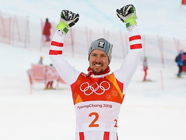 Alpine Skiing – Pyeongchang 2018 Winter Olympics – Men's Alpine Combined – Jeongseon Alpine Centre - Pyeongchang, South Korea – February 13, 2018 - Marcel Hirscher of Austria reacts during the victory ceremony. REUTERS/Leonhard Foeger - DEVEE2D0LDVPZ