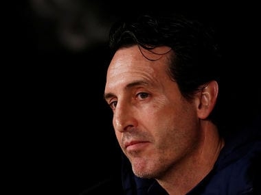 Soccer Football - Champions League - Paris St Germain Press Conference - Santiago Bernabeu, Madrid, Spain - February 13, 2018 Paris Saint-Germain coach Unai Emery during the press conference REUTERS/Juan Medina - RC17857DE3B0