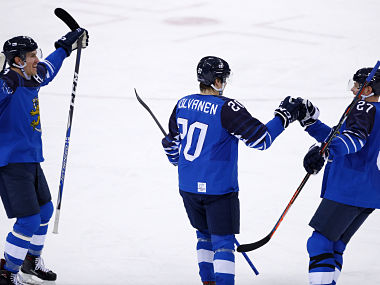 Ice Hockey – Pyeongchang 2018 Winter Olympics – Men Preliminary Round Match – Finland v Germany - Gangneung Hockey Centre, Gangneung, South Korea – February 15, 2018 - Eeli Tolvanen of Finland (c) celebrates his second period goal with teammates. - HP1EE2F0DGCWU