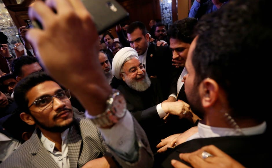 Rouhani greeted Muslim leaders and scholars after a meeting in Hyderabad. Reuters