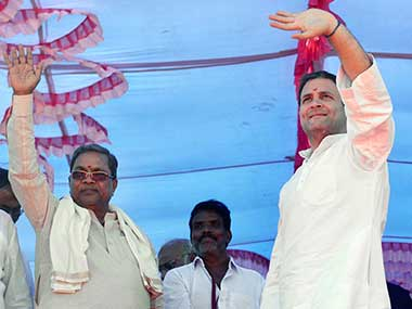 Congress President Rahul Gandhi at a public gathering at Chikkapadasalagi village ground in Jamkhandi, Karnataka. PTI