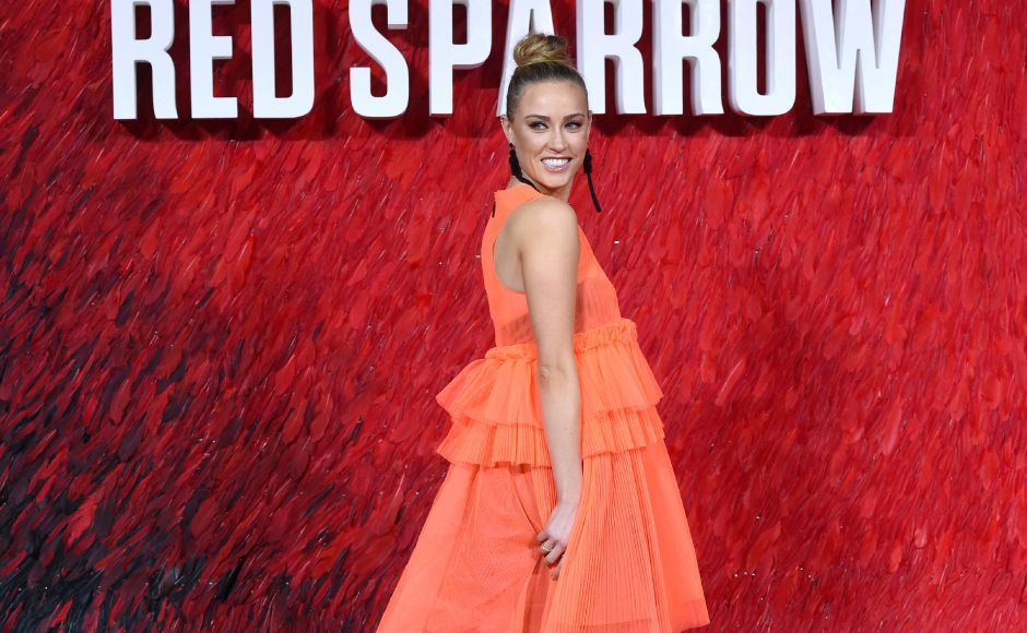 Actress Nicole O'Neill at theRed Sparrow European premiere in London. AFP