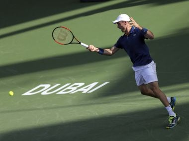 Roberto Batista Agut in action during the first round of Dubai Tennis Championships. AP