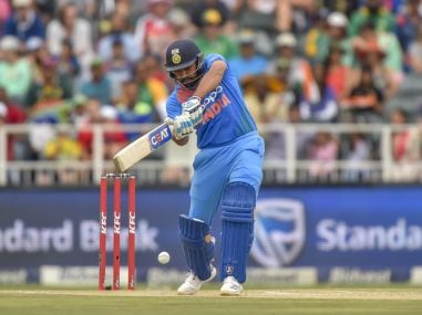Rohit Sharma plays a shot during the 1st T20I between South Africa and India. AFP