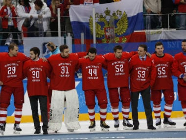 lympic Athletes from Russia celebrate their win over Germany in men's ice hockey final. Reuters