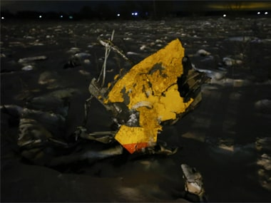 Remain of the crashed Sarotov Airlines plane near Moscow. Reuters