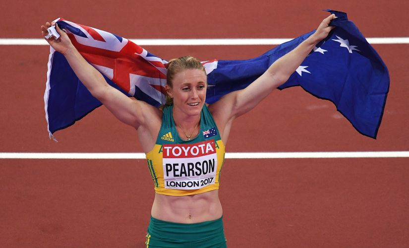 Australia's Sally Pearson celebrates after winning the 100m hurdles gold at the 2017 World Championships. AFP
