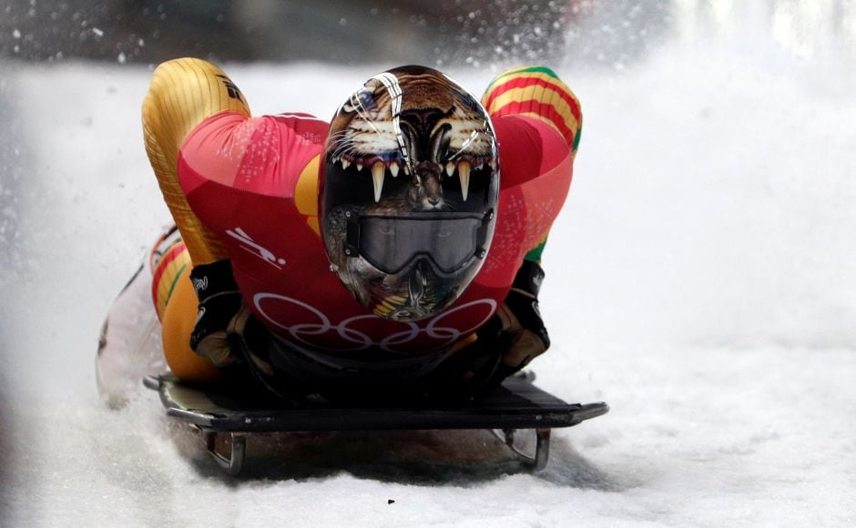 Akwasi Frimpong of Ghana competes in the men's skeleton. South Korea's Yun Sung-bin made history as he became Asia's first Olympic skeleton champion. Reuters