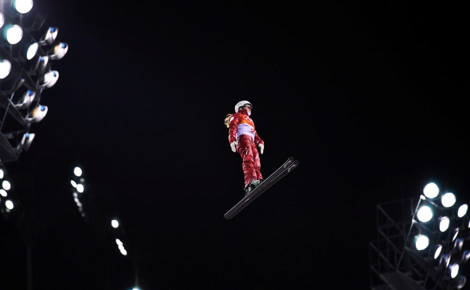 Kristina Spiridonova, Olympic athlete from Russia, in action during the women's aerials freestyle skiing event. Belarusian Hanna Huskova pulled off a clutch final jump to deny China a one-two. Reuters