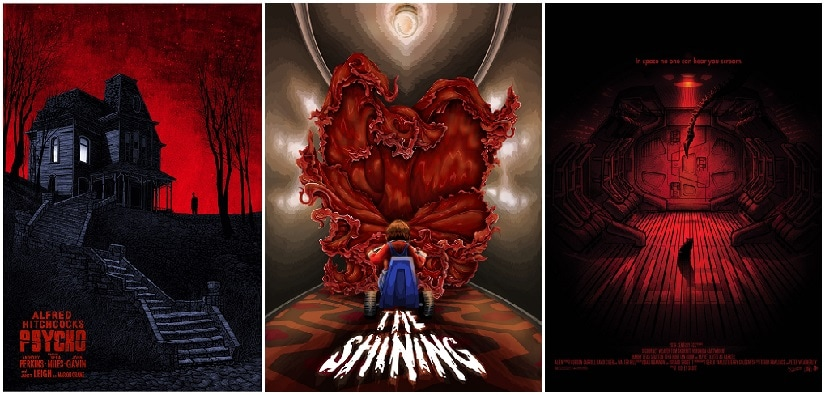 Alfred Hitchcock's Psycho, Stanley Kubrick's The Shining and Ridley Scott's Alien were all snubbed by the Academy. (Poster art by Daniel Danger, James Jean and Paul Ainsworth)