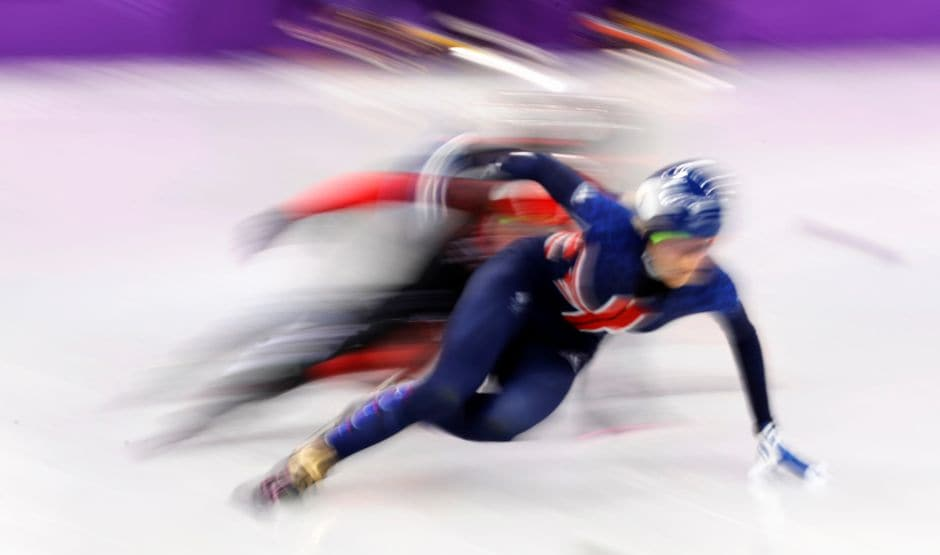 Elise Christie of Britain in action in the short track speed skating women's 500m event. Reuters