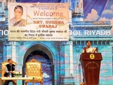 External Affairs Minister Sushma Swaraj in Riyadh on Tuesday. Twitter@MEAIndia