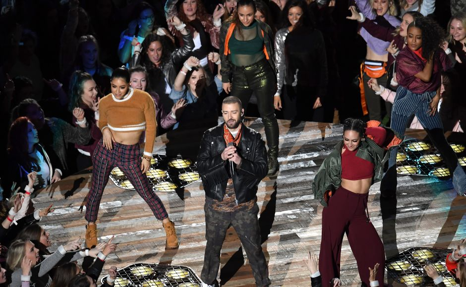 While many Super Bowl performers go heavy on pyrotechnics, Timberlake instead showed off his dancing skills, opening the show in a nightclub-like maze of lasers as he sang his recent single '<em>Filthy</em>.' AFP