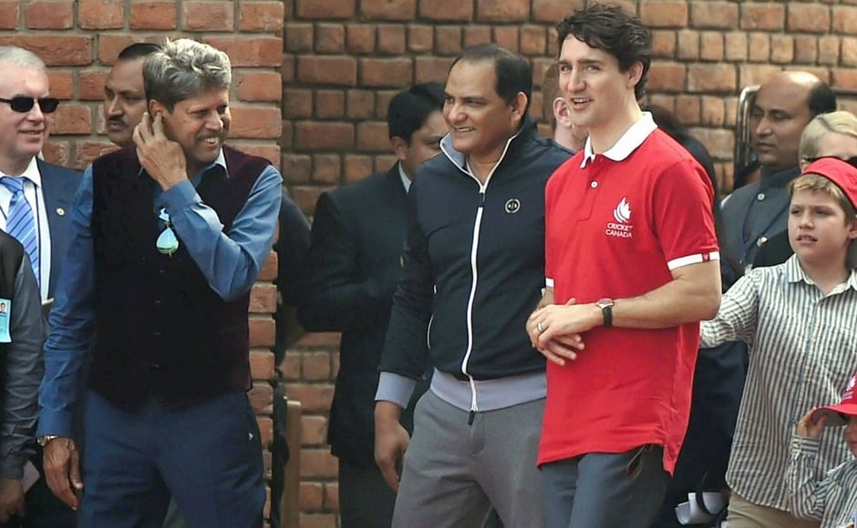 Trudeau took to the pitch along with his children and former Indian captains Kapil Dev and Mohammad Azharuddin. PTI